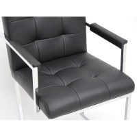 Collins Mid-Century Chair - Black Leather, Chrome Steel ...