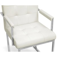 Collins Mid-Century Chair - Ivory Leather, Chrome Steel ...