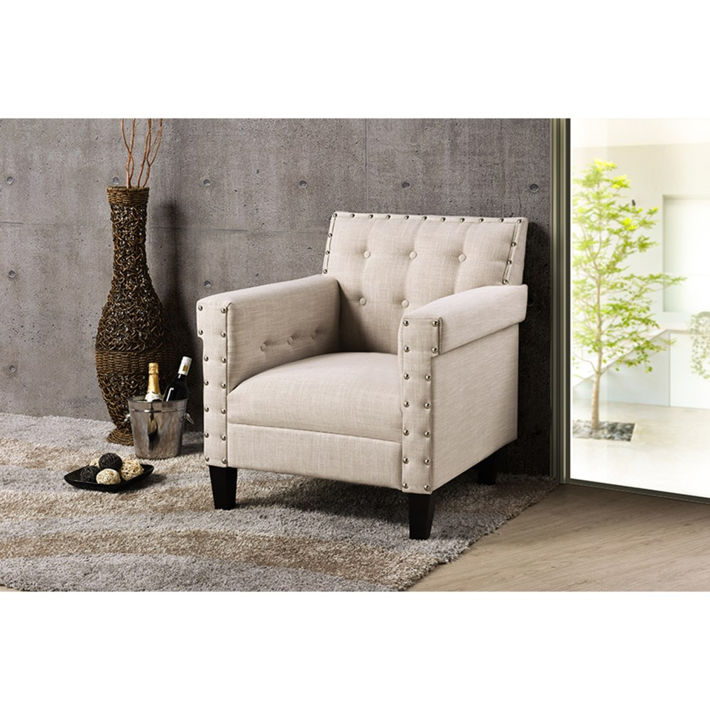 Odella Upholstered Armchair - Nailheads Beige | DCG Stores