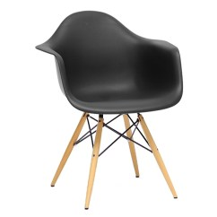 Black Plastic Chair With Wooden Legs Unusual Occasional Pascal Mid Century Modern Wood Dowel Wi