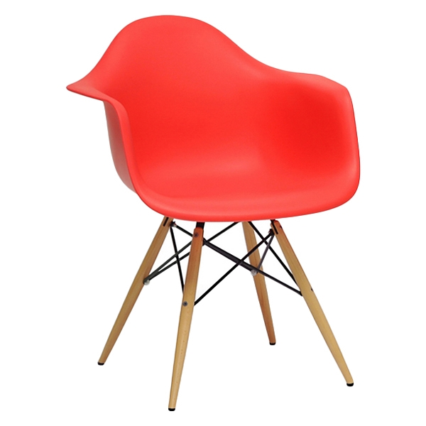 mid century modern plastic chairs nailhead dining room pascal chair wood dowel legs red dcg wi