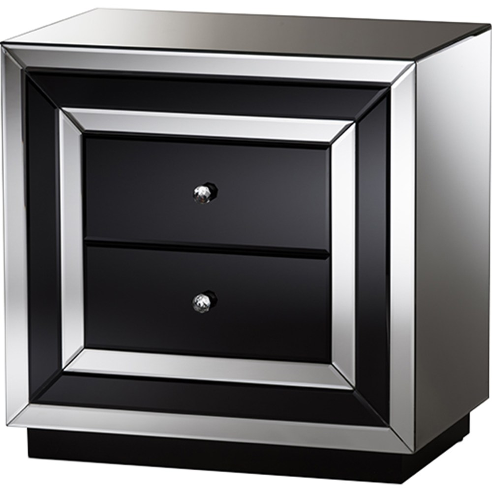 Cecilia 2 Drawers Nightstand - Black And Silver Mirrored