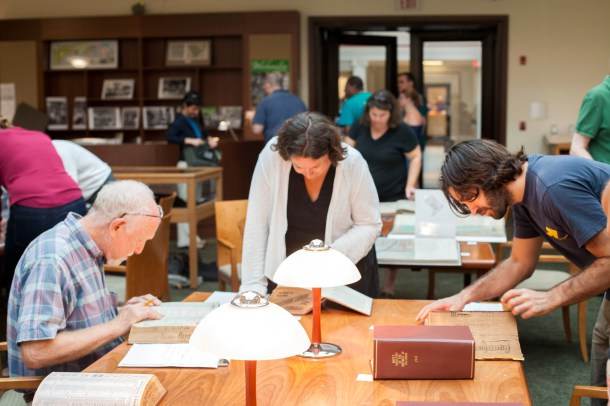 The library normally handles up to five researchers at a time; during house history workshops, the room is packed to the gills and the resources highly in demand!