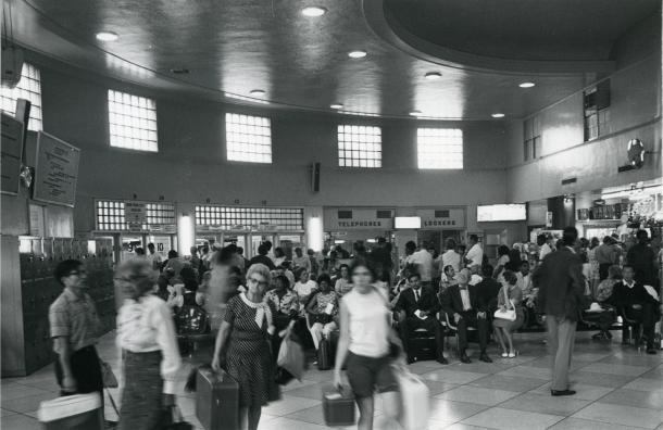 Travelers in the waiting room of the Greyhound Bus Terminal on the south side of the 1100 block of New York Avenue NW.