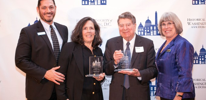 HSW Executive Director John Suau; Calvin Cafritz, who accepted the 2014 award for the Cafritz Foundation, and Jane Lipton Cafritz; Bonnie Nicholson and Austin Kiplinger, a 2012 honoree; and HSW Board Chair Julie Koczela