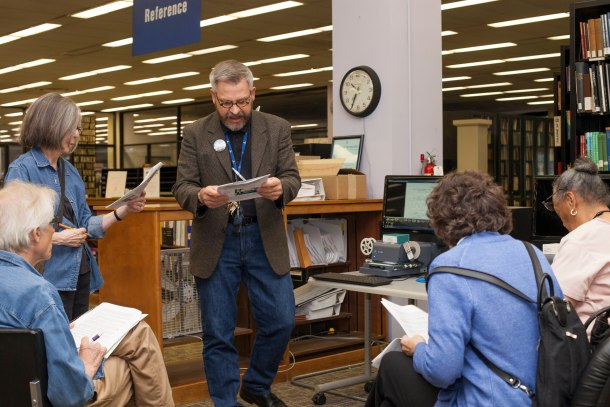 Special Collections librarian Jerry McCoy explains the microfilm resources available at Washingtoniana, as well as the house history files for specific Georgetown residences held at the Peabody Room in the Georgetown branch library.
