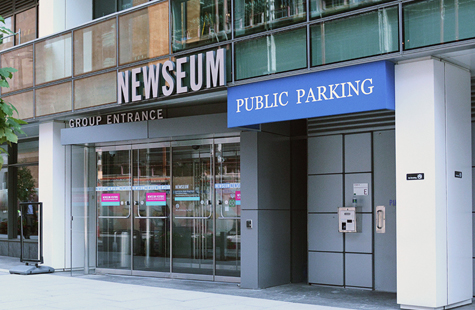 The C Street entrance to the Newseum is located on the North side of the building, at 6th and C Streets, NW
