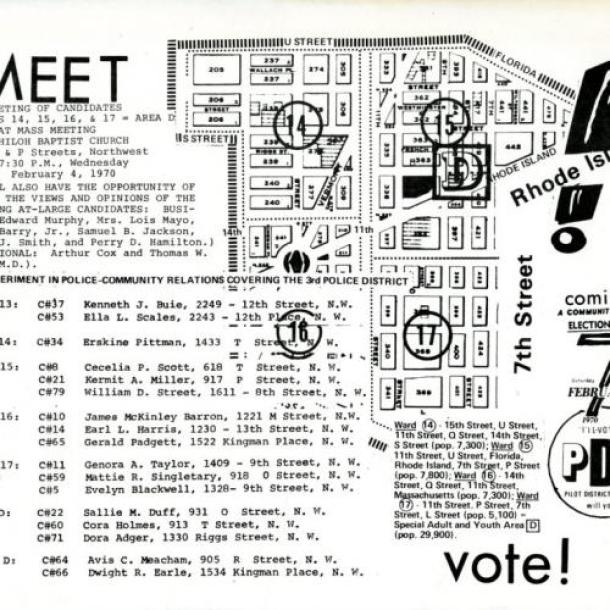 Meet the Candidates event flyer, PDP Citizens Board Election, 1970