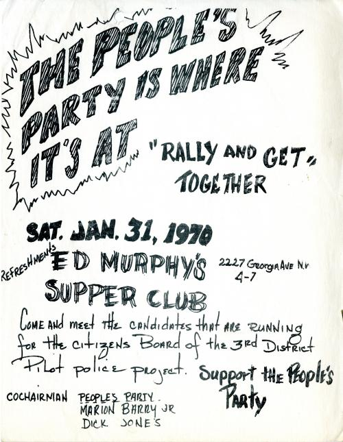 Flyer, The People's Party rally and get together, 1970