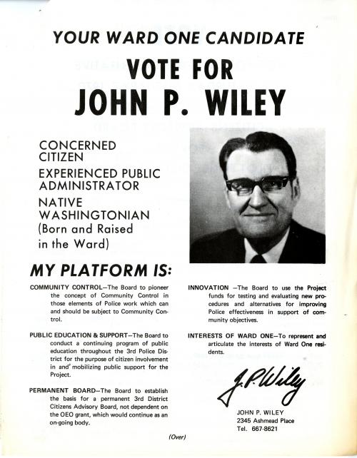 Campaign flyer (John P. Wiley), PDP Citizens Board, 1970