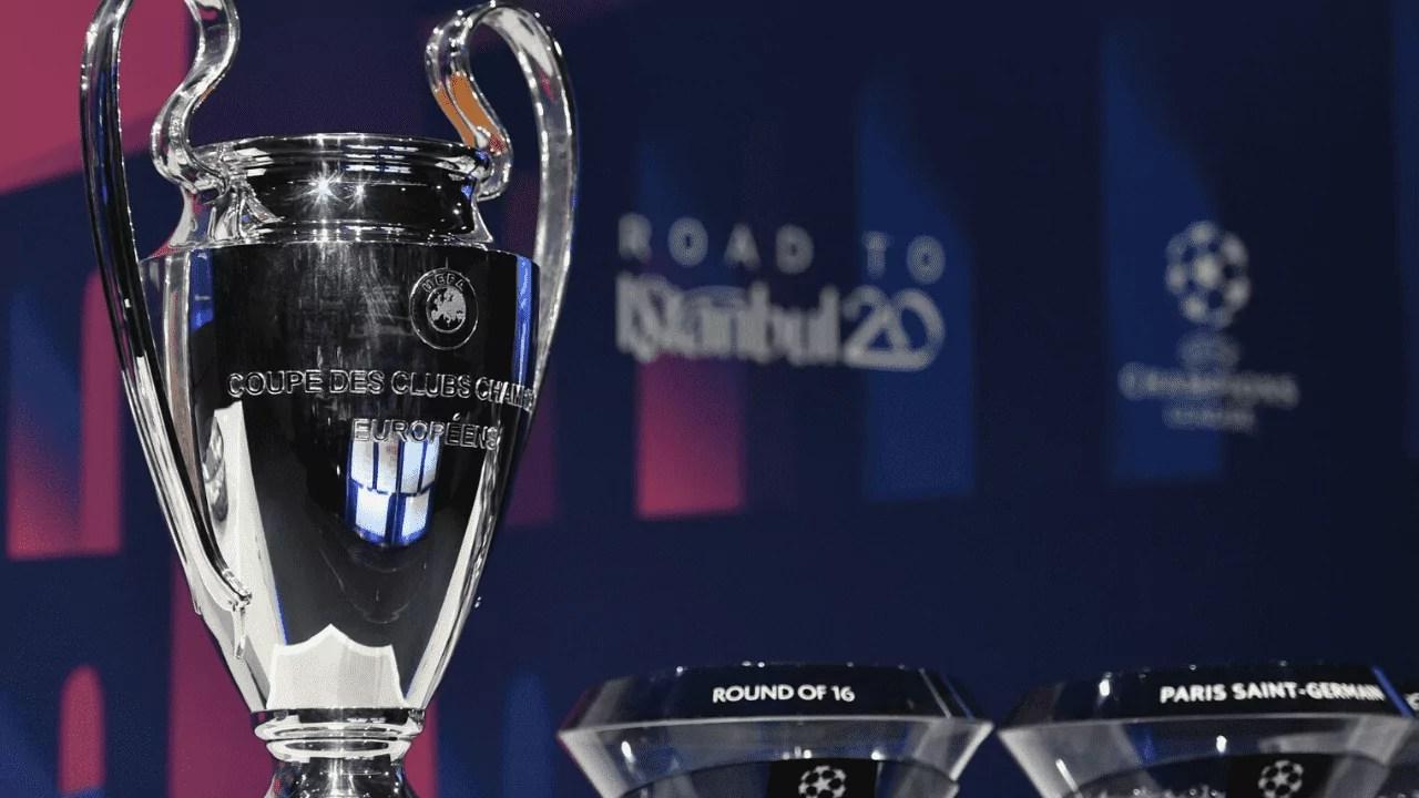 Taça da champions league em destaque no sorteio das quartas de final