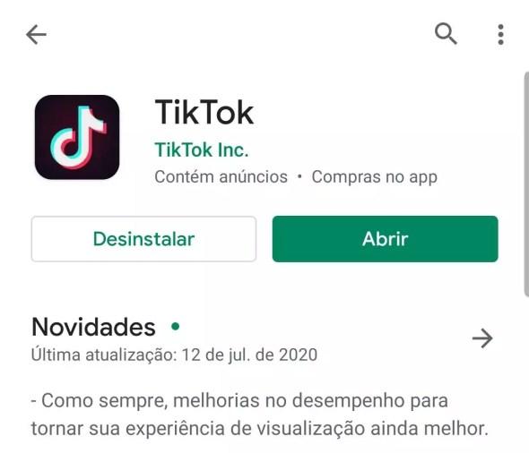 Imagem ilustrando o logo do TikTok na plataforma PlayStore
