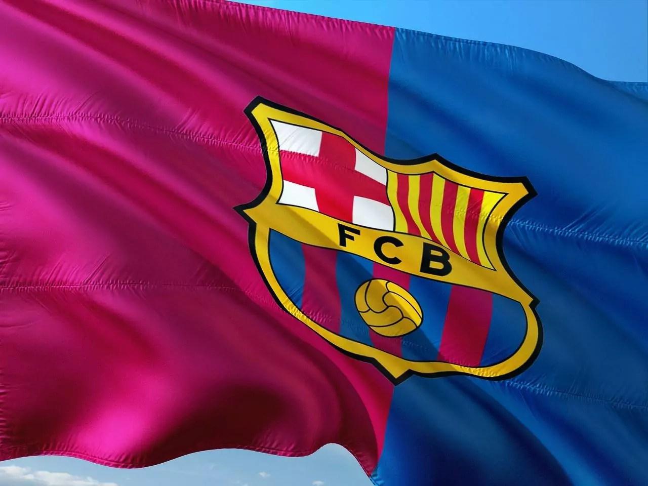 Imagem mostra a bandeira do Barcelona