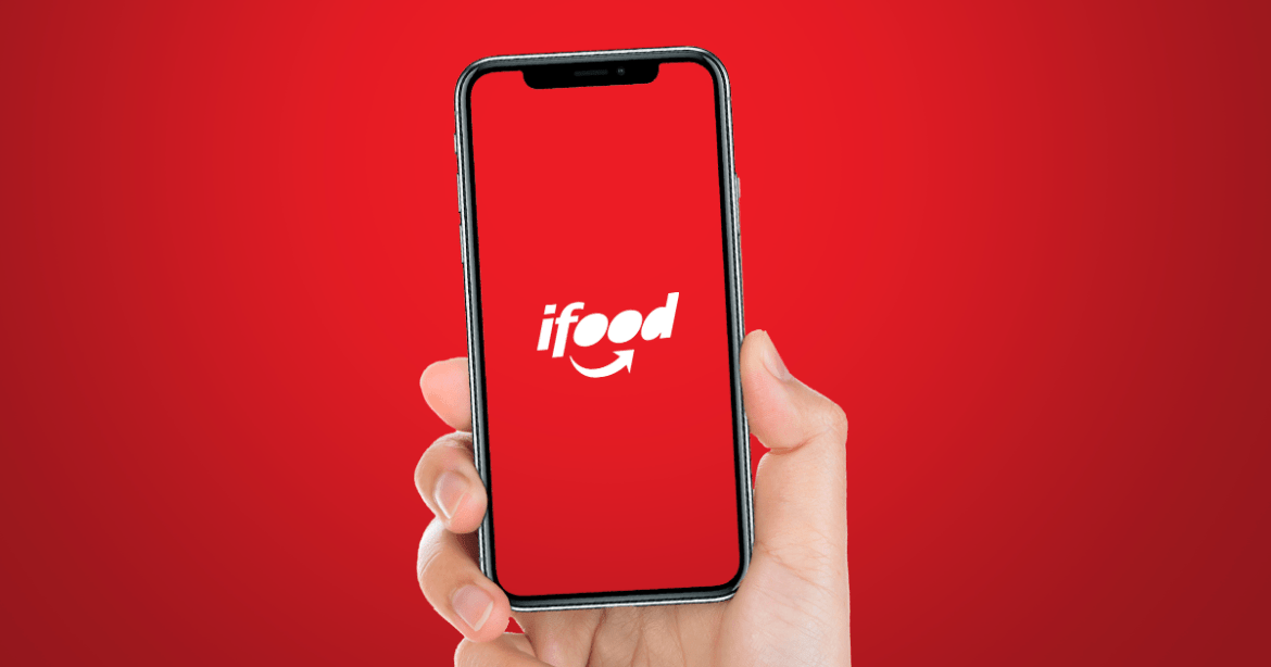 Imagem mostra o logotipo do Ifood