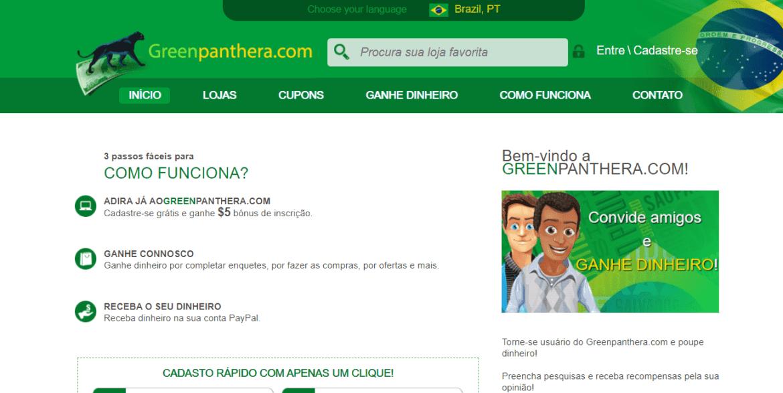 Página inicial do site de pesquisa Greenpanthera
