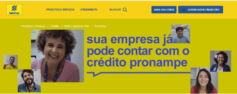 Site Banco do Brasil, para solicitar o Pronampe