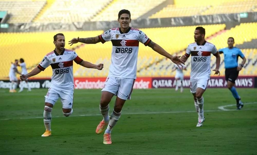Pedro comemora gol com companheiros