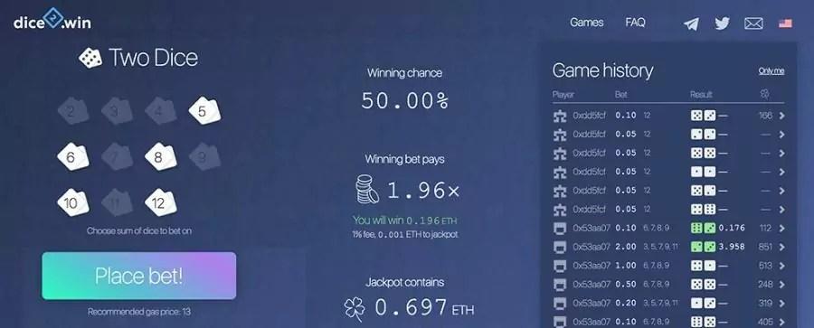 aplicação descentralizada com jogo de dados em ethereum