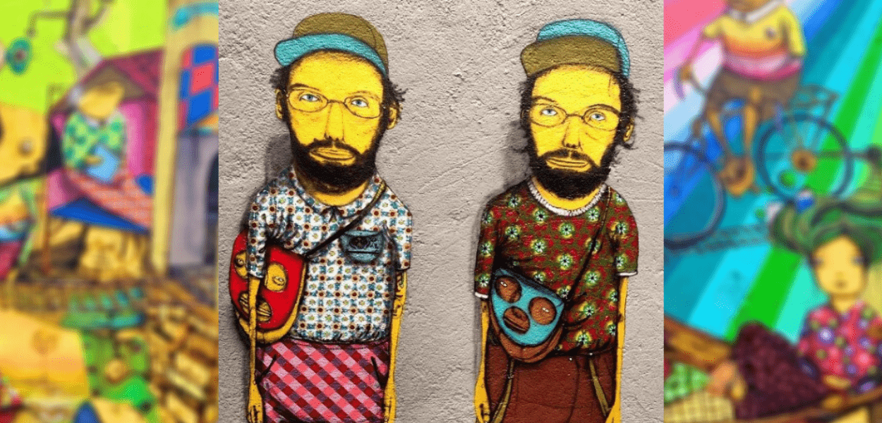 Mural com autorretrato da dupla de grafiteiros Os Gêmeos