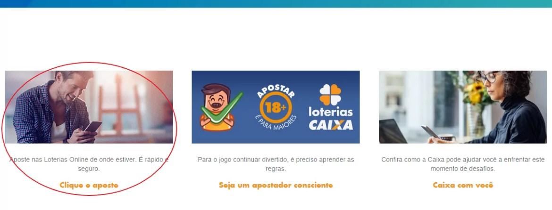A imagem mostra um círculo em vermelho destacando o campo de aposta online nas loterias do site da Caixa