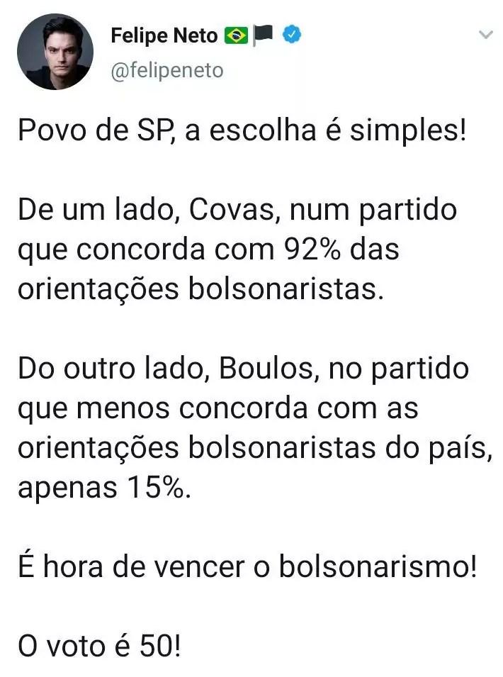 Felipe Neto declara apoio a Boulos nas Eleições 2020 em SP