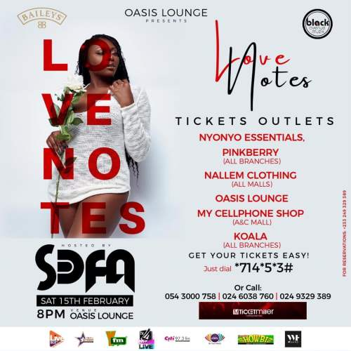 Sefa-Love-Notes-Tickets S3fa set to host Fameye, Akwaboah, Bisa KDei, others at Love Notes concert