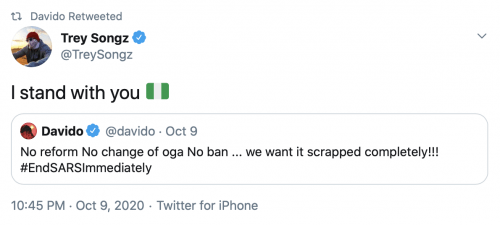 End Sarz Sheila O Wizkid 5 500x225 - Wizkid talks about #EndSars with Sheila O; Trey Songz, Lil Baby and Vic Mensa show support