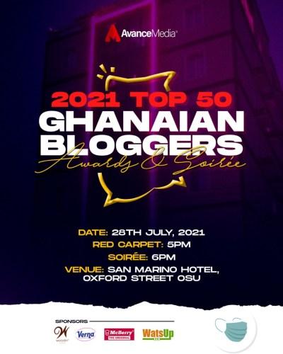 Top 50 Ghanaian Bloggers 400x500 - Avance Media, Woodin & Verna To Announce 2021 Top 50 Ghanaian Bloggers Ranking, July 28th