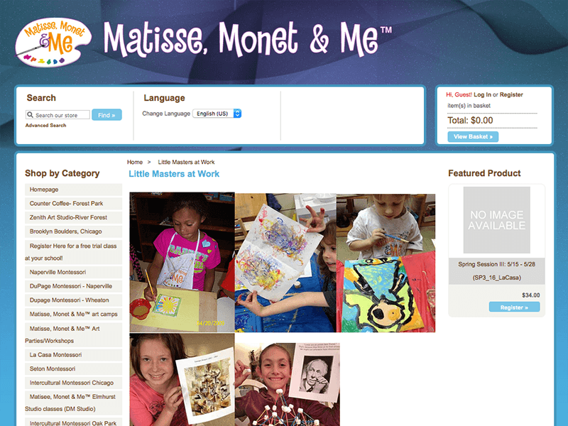 Art Class Website Design with Shopping Cart