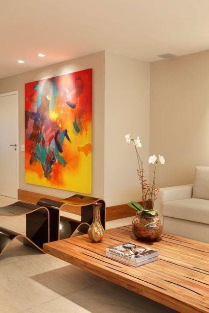 Quadros para sala  70 estilos lindos para voc se inspirar