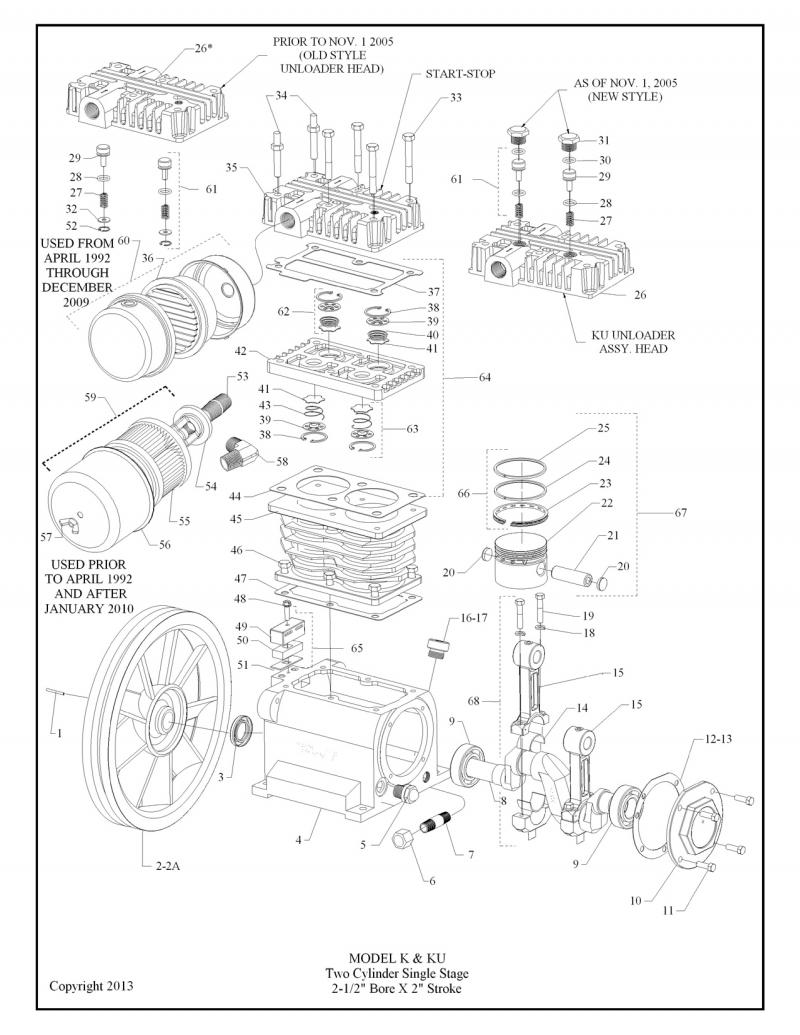hight resolution of use the above diagram to select the correct setup for your k pump whether it s the bare pump k or with head unloaders ku this is the replacement for