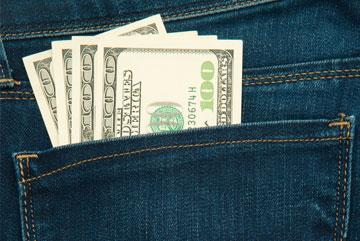 cash in back jean pocket