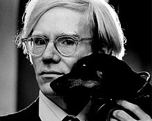 Andy Warhol, with Archie, by Jack Mitchell, 1973