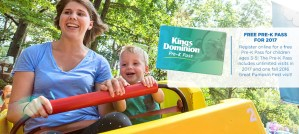 Kings Dominion - Free Pre-K Pass for 2017
