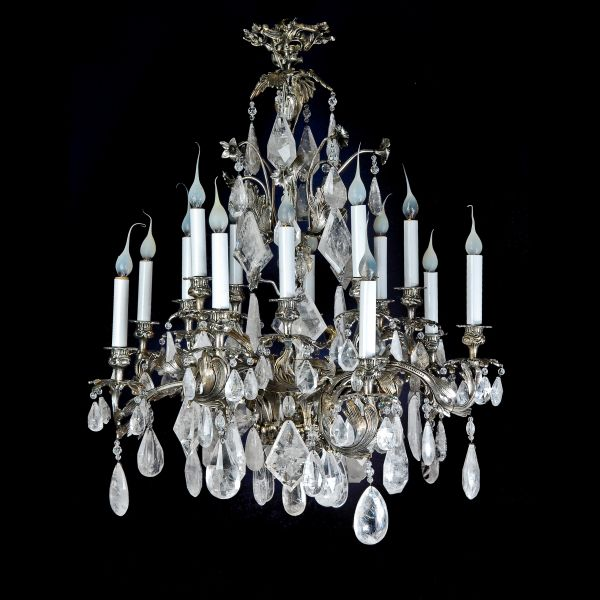 A Exquisite Antique French Louis Xv Silvered Bronze Cut Rock Crystal Chandelier