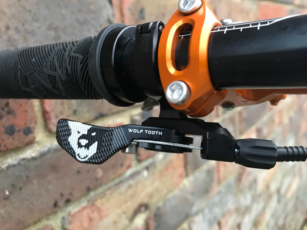 wolf tooth lever; dropper lever; dropper post lever upgrades; fox upgraded transfer lever; fox transfer post; ks seatpost; dropper post upgrades; wolf tooth components light action remote lever; Wolf Tooth Components Remote Lever; I-spec evo dropper lever; IS-EV dropper lever