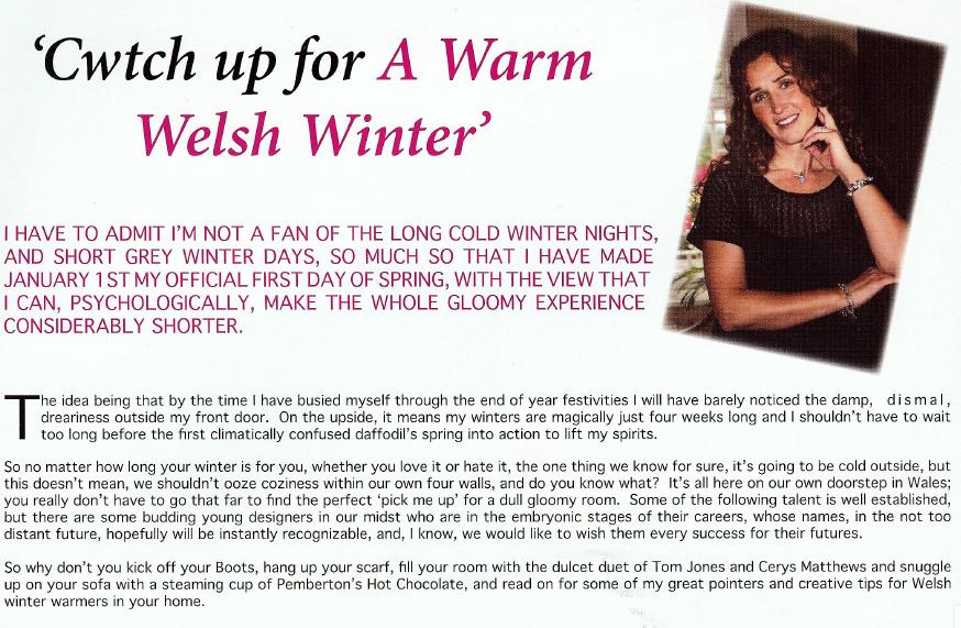 Welsh Living Magazine - Winter 2007: Cwtch up for a warm Welsh winter