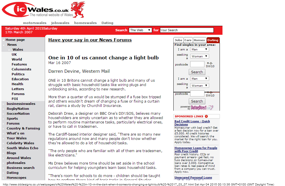 Western Mail - 16/03/07: One in ten cannot change a lightbulb