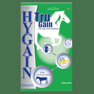 Hygain Tru Gain Horse Conditioner. Green 44-lb feed bag.