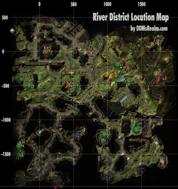 Treasure Map Location Guide - River District - Map With Grid