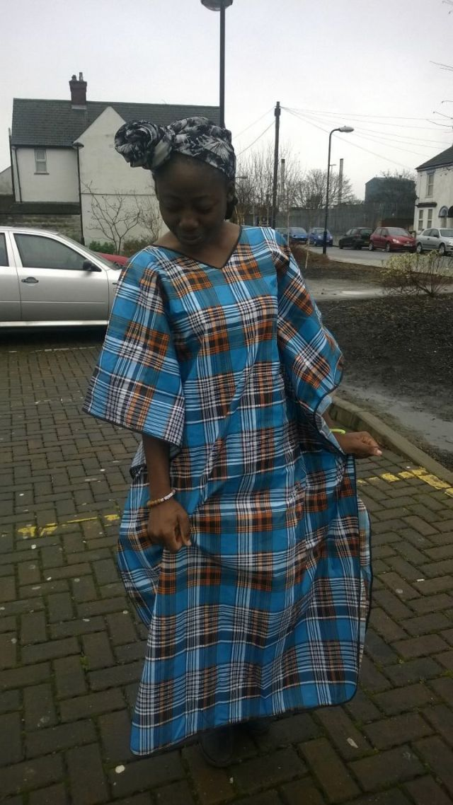Our Mamaest and her agbada...thanks for taking your culture to UK. You look modest ma.
