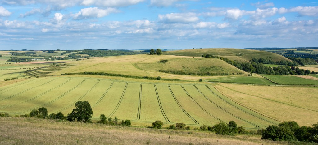 Panorama from Battlesbury Hill, with medieval strip lynchets on the edge of Salisbury Plain, in Wiltshire, UK