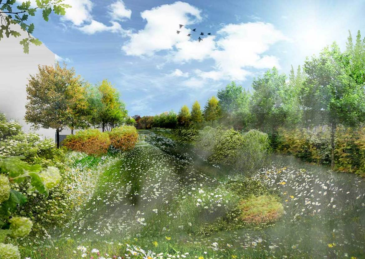 Integrated approach to sustainable drainage with provision for ecological and landscape buffers