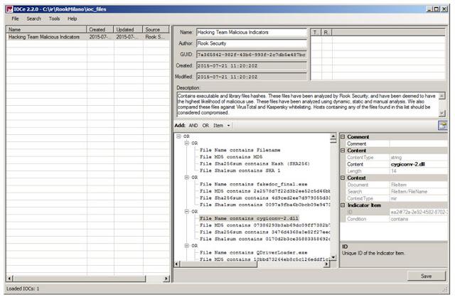 Imagen 4. Edición del fichero OpenIoC para la detección del malware de Hacking Team empleando MANDIANT IoC Editor