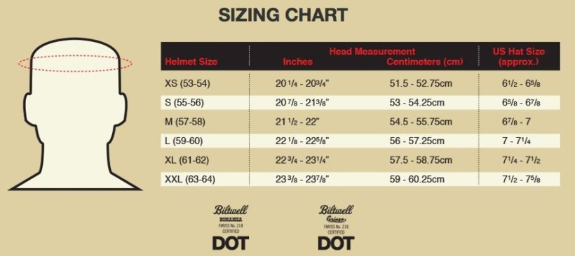 Simpson Youth Helmet Size Chart