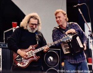 """Jerry Garcia & Bruce Hornsby, May 11, 1991, Mountain View, CA, """"Mississippi Half Step Uptown Toodleloo"""" © Robbi Cohn Dead Images"""