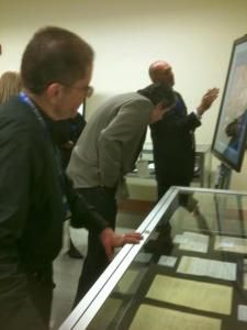 Checking out the exhibits at the Graeful Dead Archive preview event