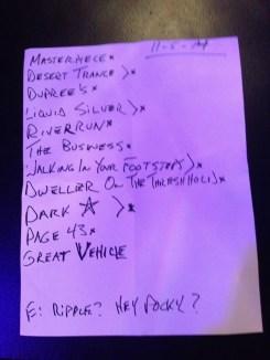 Setlist Niv 11 2014 John Kadlecik & the Golden Gate Wingmen at Terrapin Crossroads. w Jay Lane, Jeff Chimenti and Reed Mathis