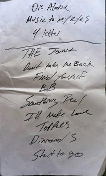 Lukas Nelson hand written setlist, Photo By Doug Clifton