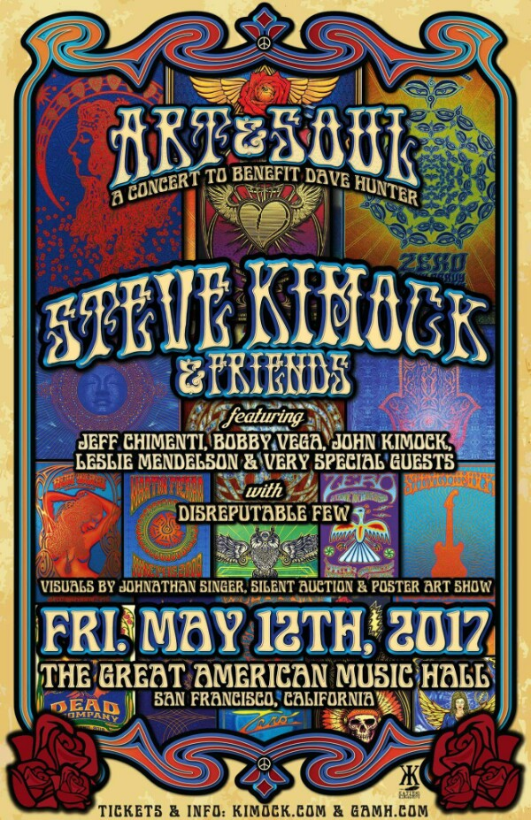 "On sale NOW  ""Art & Soul - A Concert to Benefit Dave Hunter featuring Steve Kimock & Friends @ GAMH   w/ Disreputable Few""!"